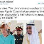 13561 В сети поверили в фейк о замазанной саудовским ТВ голове Меркель