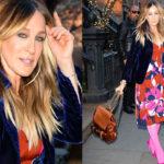 Уличный стиль знаменитости: Сара Джессика Паркер вышла на прогулку в розовых гольфах