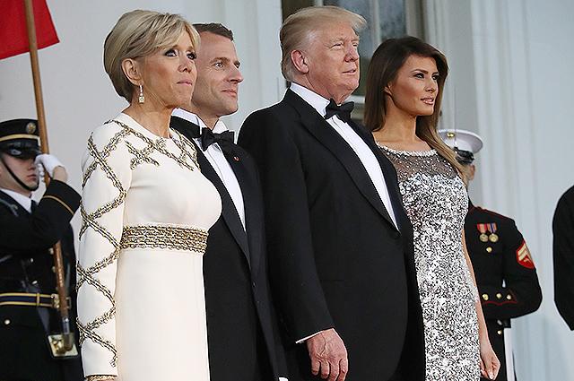 Дональд и Мелания Трамп устроили ужин в Белом доме в честь Эммануэля и Брижит Макрон