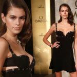 37383 Кайя Гербер в маленьком черном платье Versace стала зведой торжественного приема в Берлине