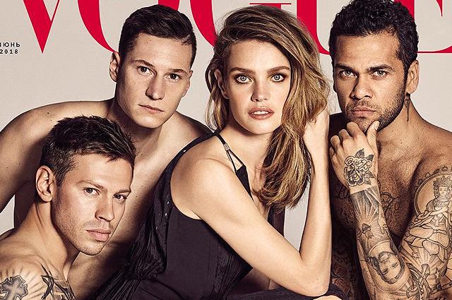 Наталья Водянова сфотографировалась с футболистами для обложки Vogue