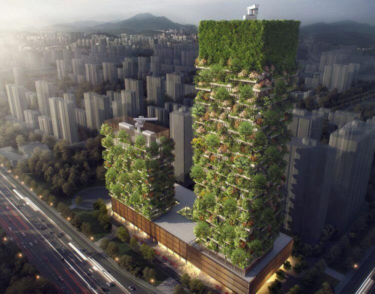 Фантастический «вертикальный лес» в Азии. Невероятный архитектурный комплекс для улучшения качества кислорода в мегаполисах.
