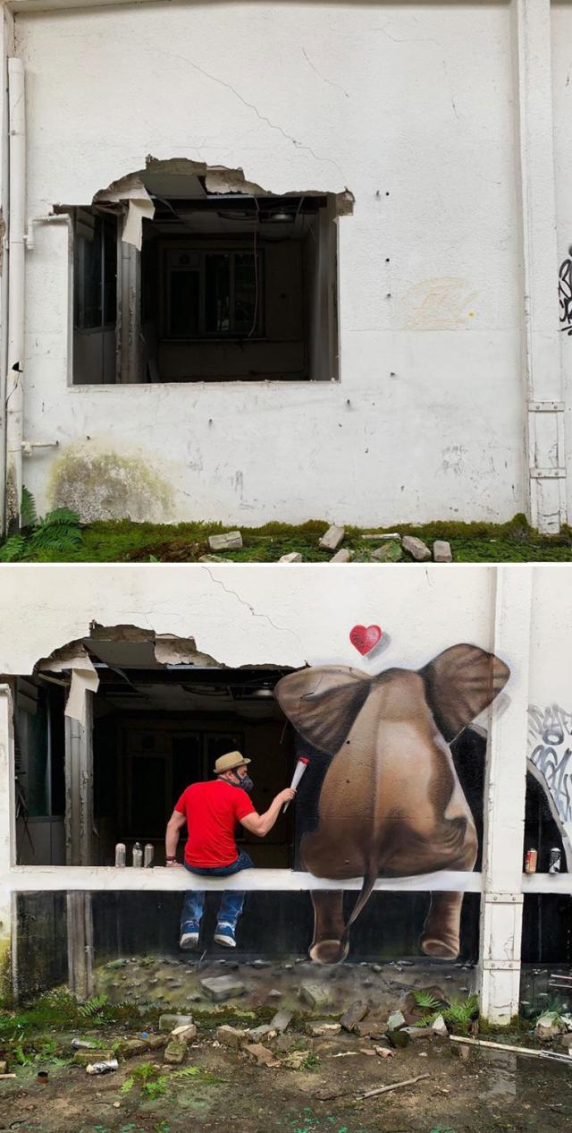 57217 Художник создает удивительные 3D рисунки на улицах города