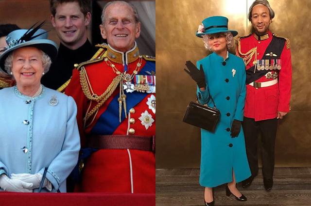 Королева Елизавета II, принц Гарри и принц Филипп/Крисси Тейген и Джон Ледженд