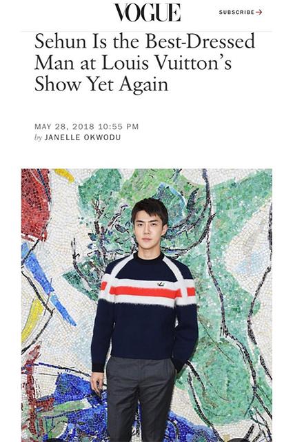 """""""Сехун снова самый стильный гость на показе Louis Vuitton"""""""