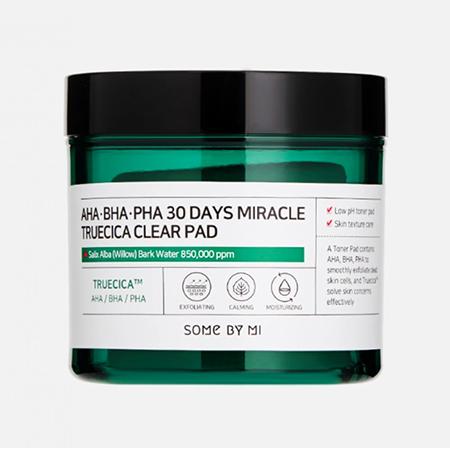 Отшелушивающие подушечки для проблемной кожи с AHA, BHA, PHA кислотами SOME BY MI AHA-BHA-PHA 30 Days Miracle Truecica Clear Pad
