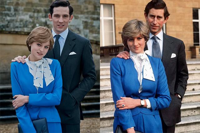 """Кадр из сериала """"Корона""""/принцесса Диана и принц Чарльз"""