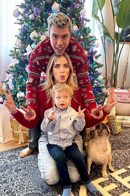 Кьяра Ферраньи с мужем Федерико Лючия и сыном Леоне