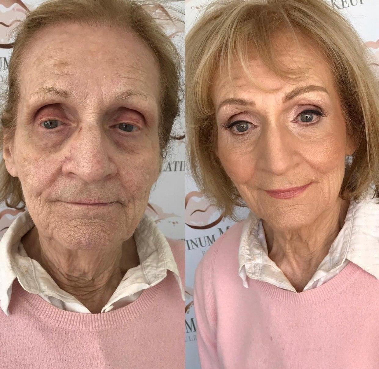 Визажист с помощью косметики омолодила свою 80-летнюю бабушку