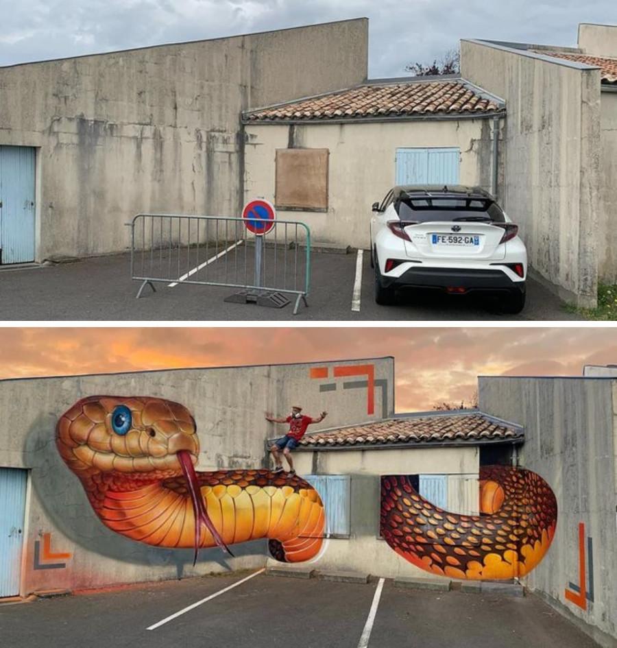 102187 Волшебный мир граффити: 15+ волшебных работ французского художника, превращающего обшарпанные углы в 3D-объекты, пугающие своей реалистичностью
